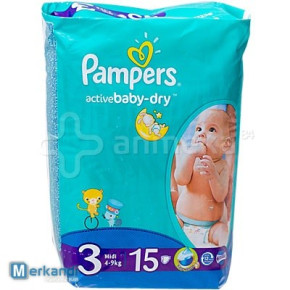 Pampers Active Baby Dry 15 pc. N°3 Midi (4-9 kg)