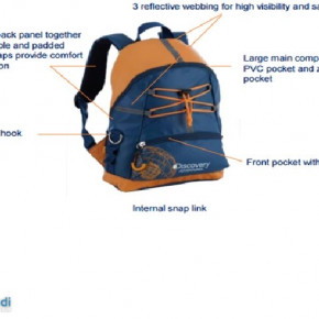 Kinderrucksack, blau/orange, ca. 33x25x12cm